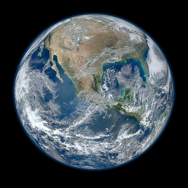 Erde Nordamerika mit Wolken